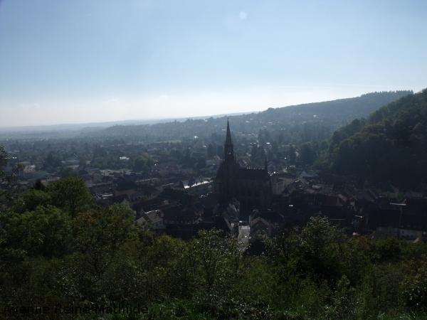 La ville de Thann depuis les ruines du château de l'Engelbourg