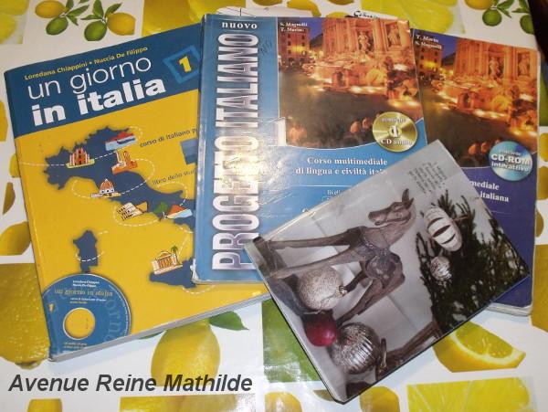 Mes manuels, mon cahier de vocabulaire et notre superbe nappe au citron
