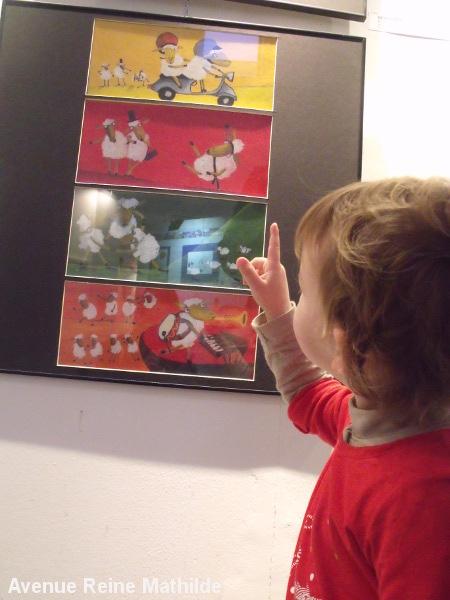 Exposition d'illustrations jeunesses (ici Lucia Scuderi) dans le cadre du festival Rolf à Cefalu (Sicile) - janv. 2014