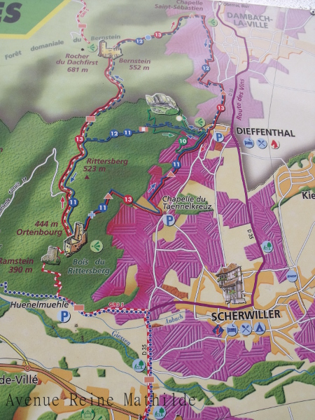 Plan des randonnées autour de l'Ortenbourg