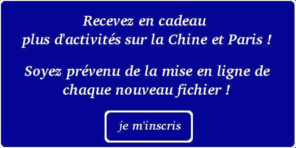 Plus de livret d'activités Chine et Paris