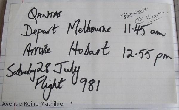 australie vol melbourne hobart