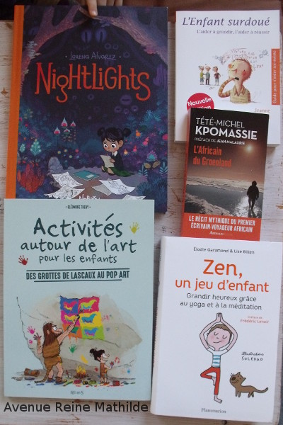 De haut en bas : Nightlights (BD en anglais trouvé dans une librairie de Metz), Activités autour de l'art (très beau, je n'ose pas laisser Nine écrire dedans pour l'instant), L'Enfant Surdoué (acheté il y a 2 jours), au Groenland, Zen, un jeu d'enfant (un livre pour faire du yoga et de la méditation avec des enfants).