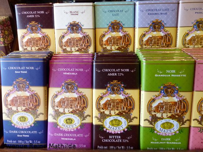 Tablettes de chocolat mazet